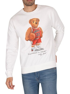 Sneaky Bear Jordan Graphic Sweatshirt - White