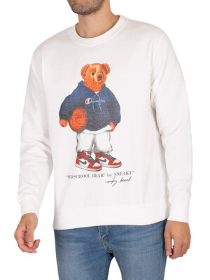 Sneaky Old School Bear Graphic Sweatshirt - White