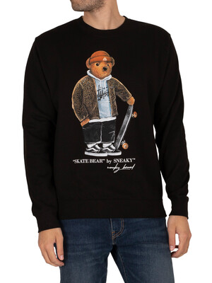 Sneaky Skate Bear Graphic Sweatshirt - Black
