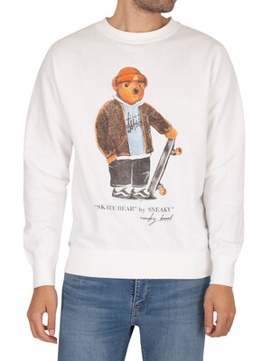 Sneaky Skate Bear Graphic Sweatshirt - White