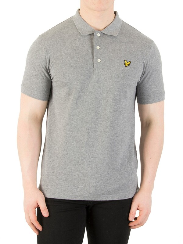 Lyle & Scott Mid Grey Marl Logo Polo Shirt