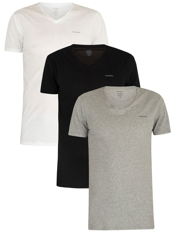 Diesel 3 Pack Jake Plain Logo V-Neck T-Shirts - White/Black/Grey Marl