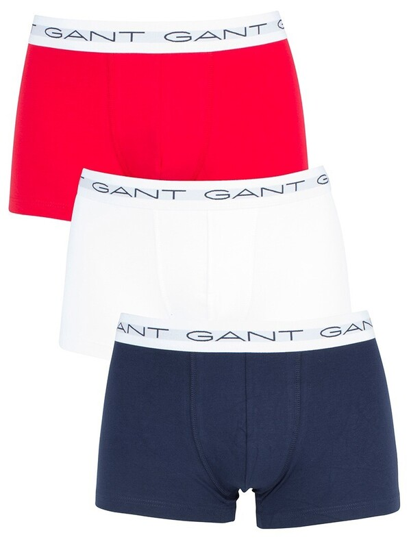 Gant 3 Pack Cotton Stretch Essential Trunks - Red/White/Navy