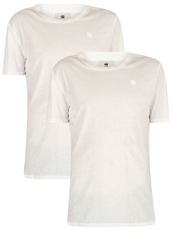 G-Star White Solid 2 Pack Crew Neck Logo T-Shirts