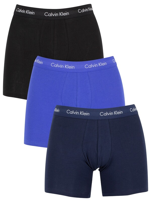 Calvin Klein 3 Pack Cotton Stretch Boxer Briefs - Black/Blue Shadow/Cobalt Water