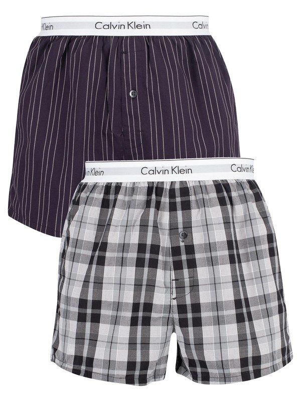 Calvin Klein 2 Pack Slim Trunks - Ryan Striped Well/Hickory Plaid