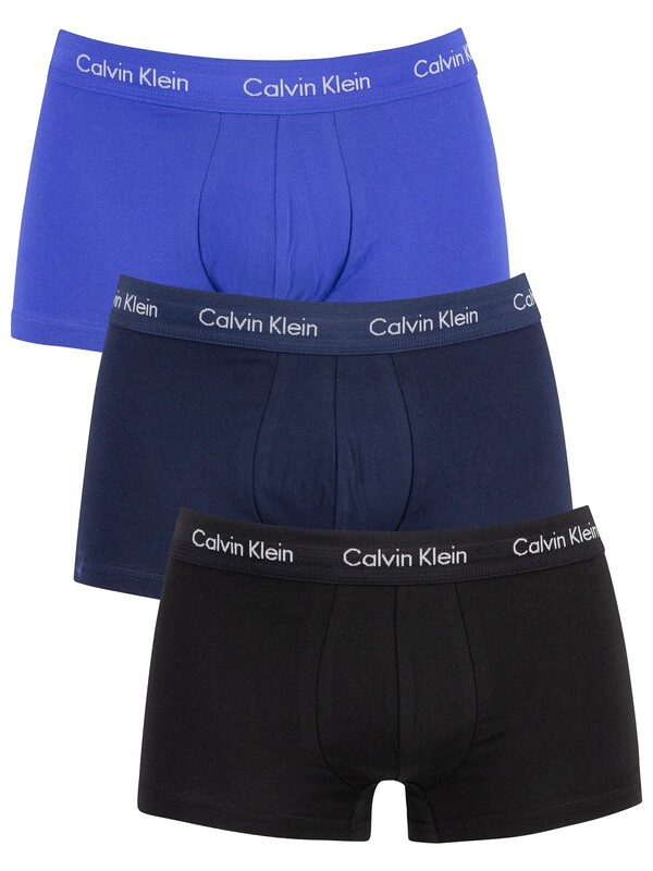 Calvin Klein 3 Pack Low Rise Trunks - Black/Blue Shadow/Cobalt Water