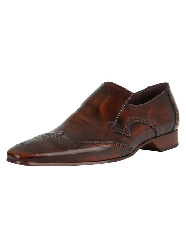 Jeffery West Escobar Polished Leather Shoes - Mid Brown