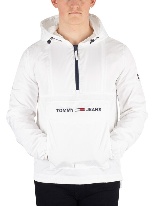 Tommy Jeans Nylon Shell Solid Popover Jacket - Classic White