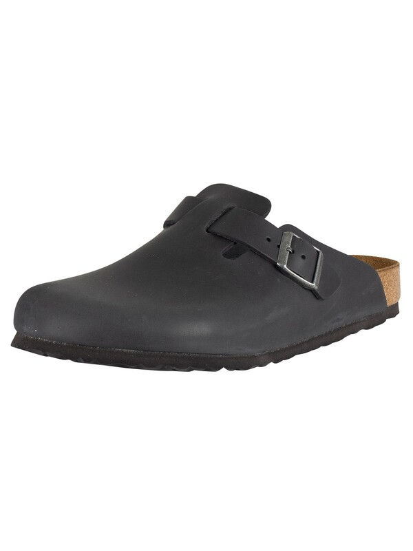 Birkenstock Boston Oiled Leather Sandals - Black
