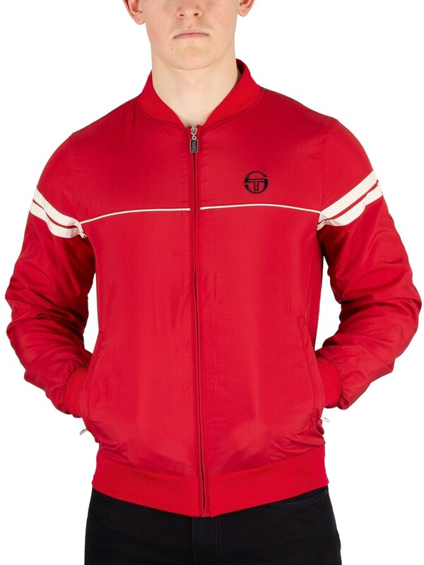 Sergio Tacchini Light Bomber Jacket - Dark Red/Butter Cream