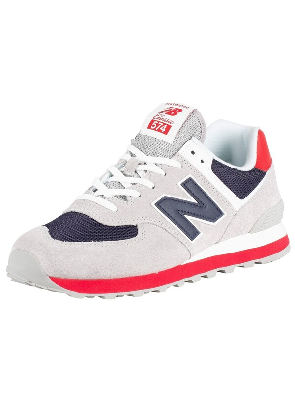 New Balance 574 Suede Trainers - Grey/Navy/Red