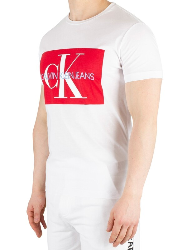 Calvin Klein Jeans Monogram Box Logo T-Shirt - Bright White/Racing Red