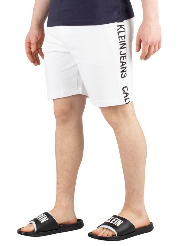 Calvin Klein Jeans Side Institution Sweat Shorts - Bright White