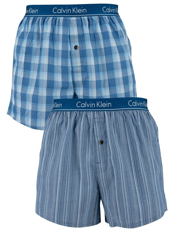 Calvin Klein 2 Pack Slim Fit Low Rise Woven Boxers - Lark Plaid Atlantis