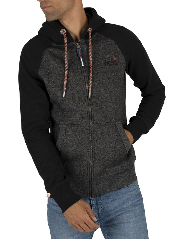 Superdry Orange Label Raglan Zip Hoodie - Low Light Black Grit