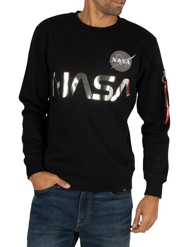 Alpha Industries NASA Reflective Sweatshirt - Black/Chrome