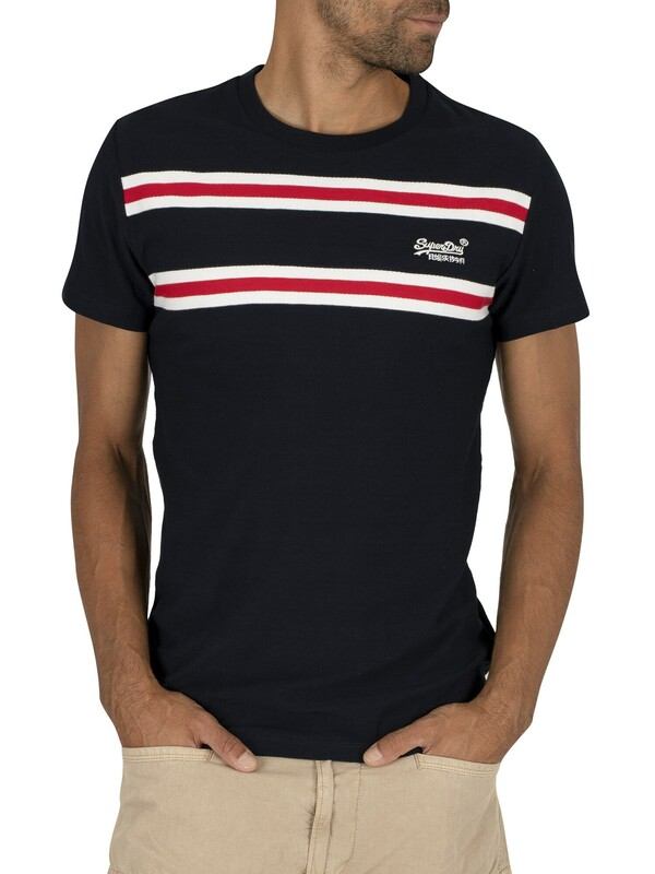 Superdry Herringbone Stripe T-Shirt - Rich Navy