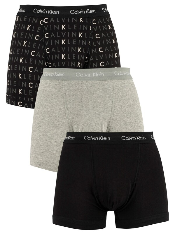 Calvin Klein 3 Pack Trunks - Black/Grey Heather/Subdued Logo