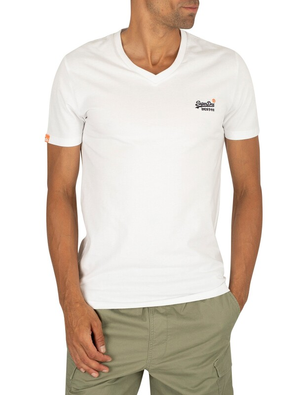 Superdry Orange Label Vintage Embroidery V- Neck T-Shirt - Optic White