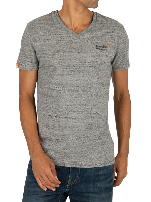 Superdry Orange Label Vintage EMB V-Neck T-Shirt - Flint Steel Grit