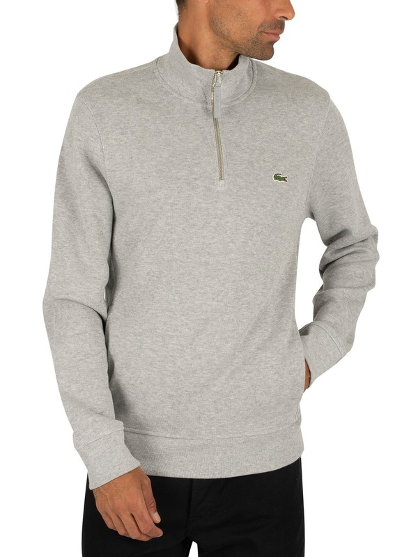 Lacoste Logo Zip Sweatshirt - Light Grey