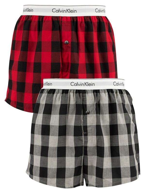 Calvin Klein 2 Pack Slim Woven Boxers - Buffalo Temper/Grey Heather