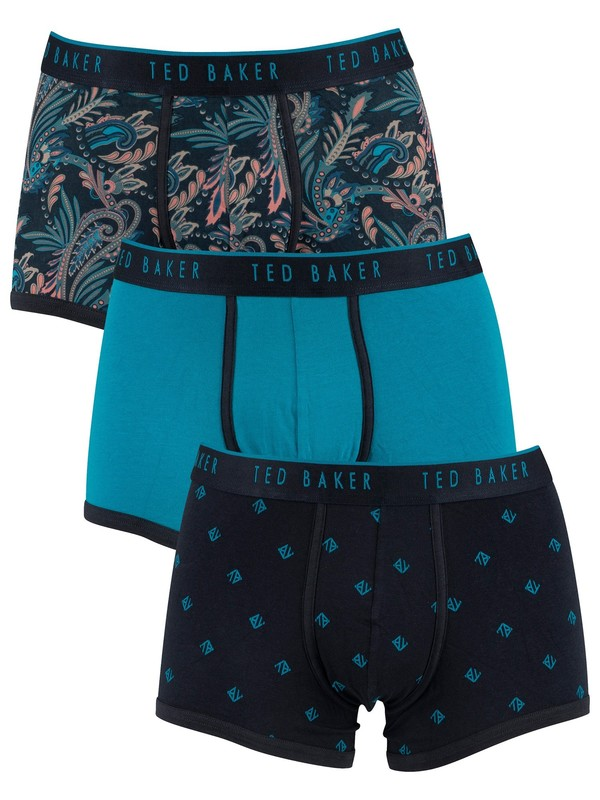 Ted Baker 3 Pack Trunks - Pattern/Blue/Navy