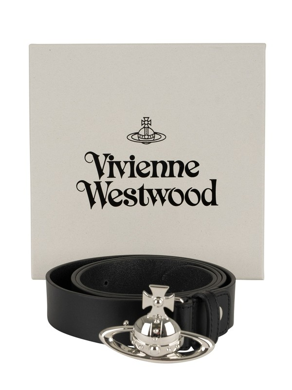 Vivienne Westwood Orb Buckle Palladio Leather Belt - Black