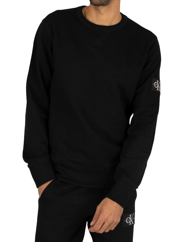Calvin Klein Jeans Monogram Sleeve Badge Sweatshirt - Black