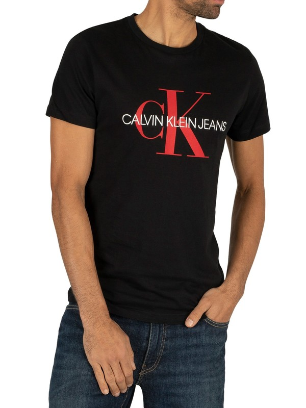 Calvin Klein Jeans Monogram Logo Slim T-Shirt - Black/Racing Red
