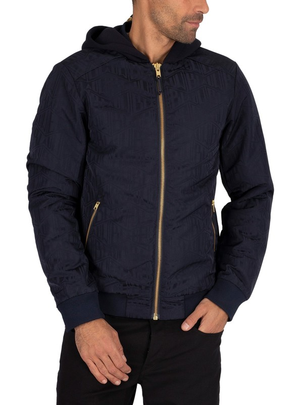 Scotch & Soda Blauw Jacquard Bomber Jacket - Navy