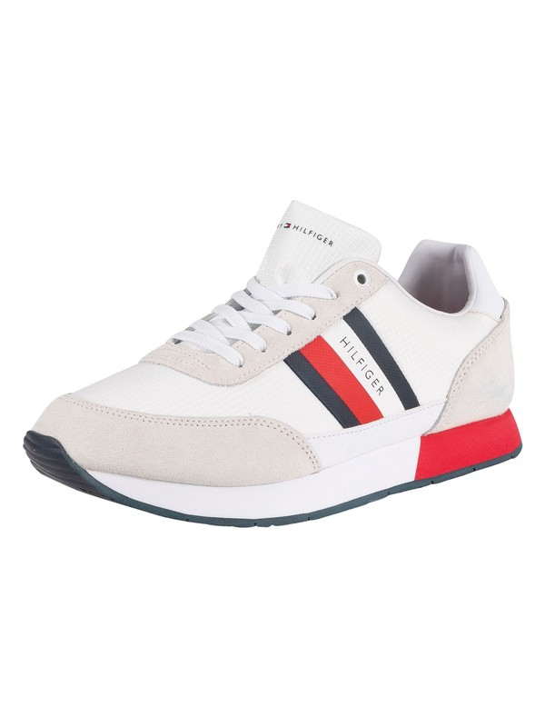 Tommy Hilfiger Corporate Mix Flag Trainers - White