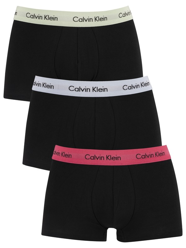 Calvin Klein 3 Pack Low Rise Trunks - Honeysuckle/Ice Pulp/Pale Moss
