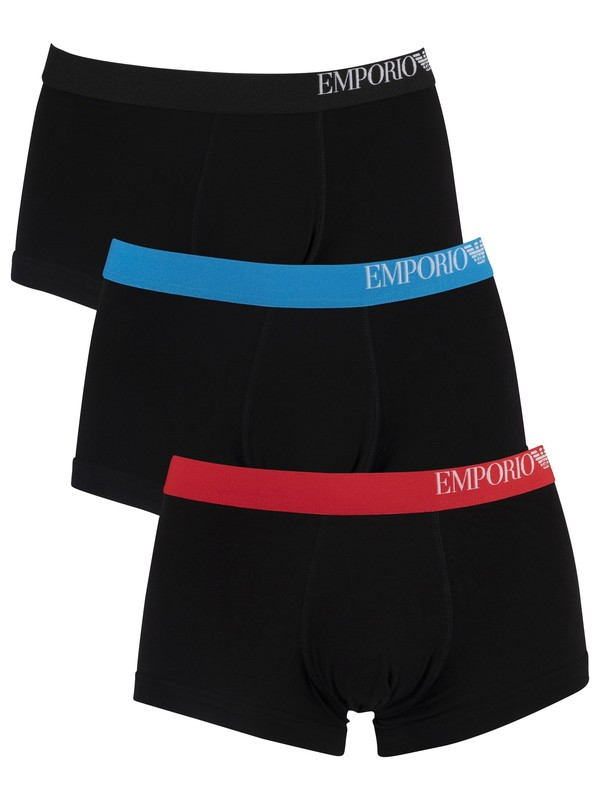 Emporio Armani 3 Pack Trunks - Red/Blue/Black