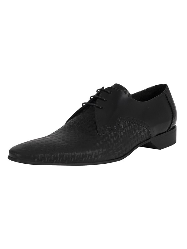 Jeffery West Brogue Derby Leather Shoes - Black Polished