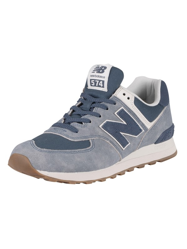 New Balance 574 Suede Trainers - Light Blue/Navy