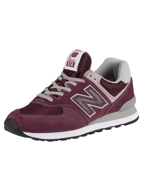 New Balance 574 Suede Trainers - Burgundy