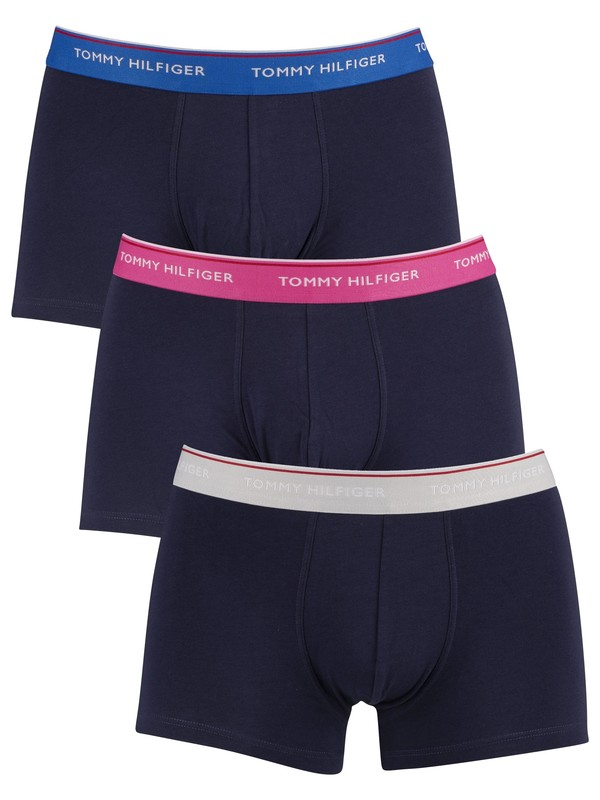Tommy Hilfiger Premium Essential Trunks - Glacier Gray/Shock Pink/Lapis Blue