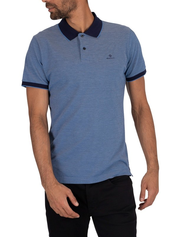 GANT Oxford Pique Rugger Polo Shirt - Pacific Blue