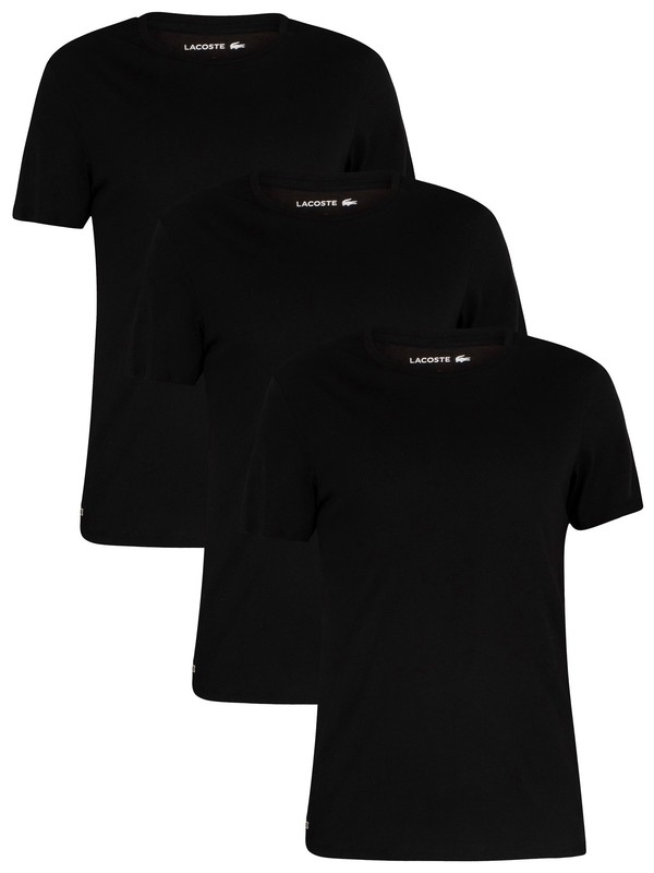 Lacoste 3 Pack Crew T-Shirt - Black