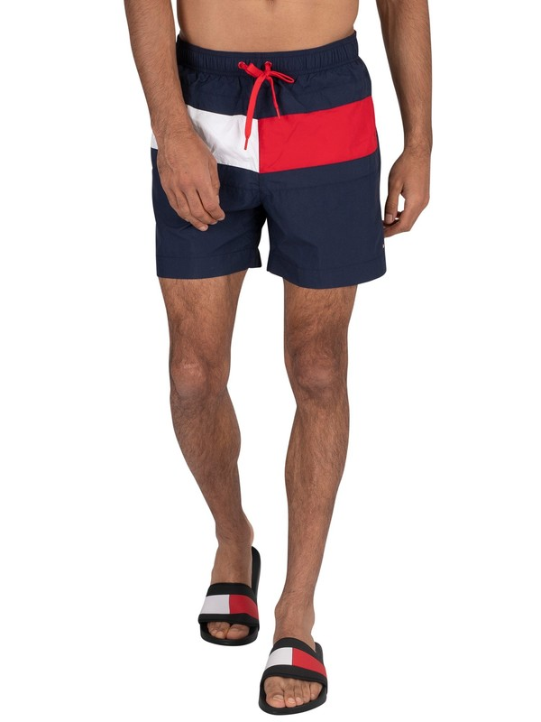 Tommy Hilfiger Flag Medium Drawstring Swim Shorts - Pitch Blue