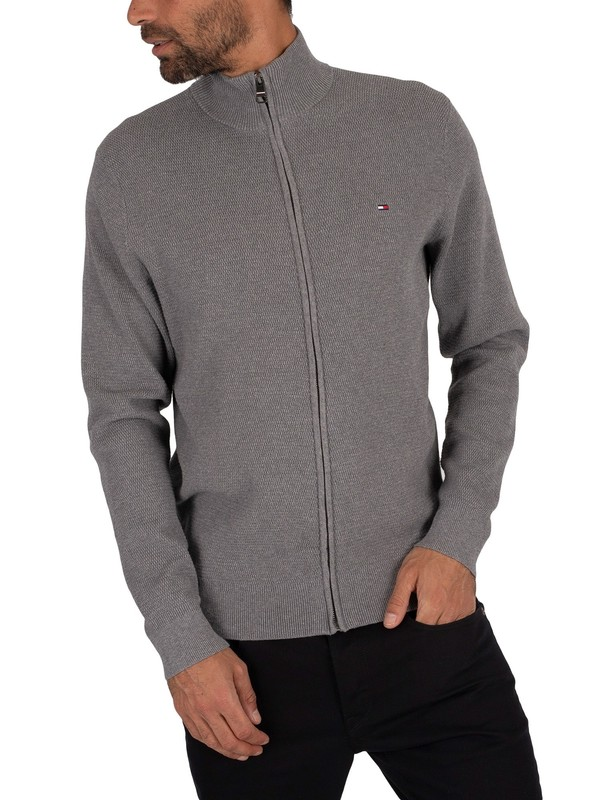 Tommy Hilfiger Structured Cotton Zip Knit - Silver Fog Heather