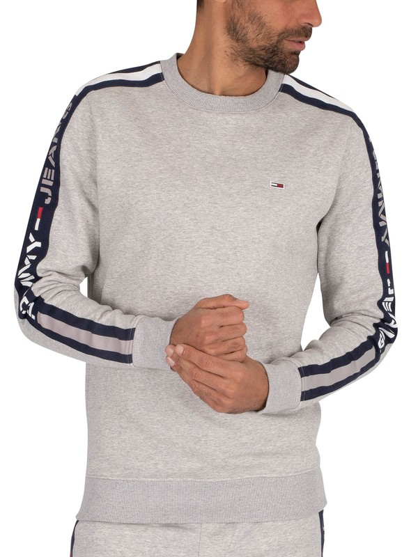 Tommy Jeans Branded Tape Sweatshirt - Light Grey Heather