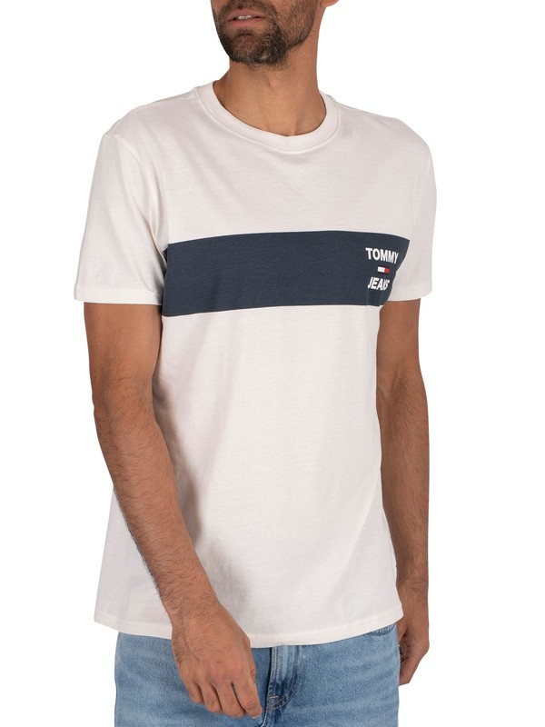 Tommy Jeans Chest Stripe Logo T-Shirt - White
