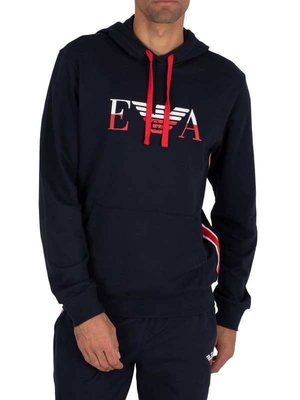 Emporio Armani Lounge Graphic Pullover Hoodie - Marine