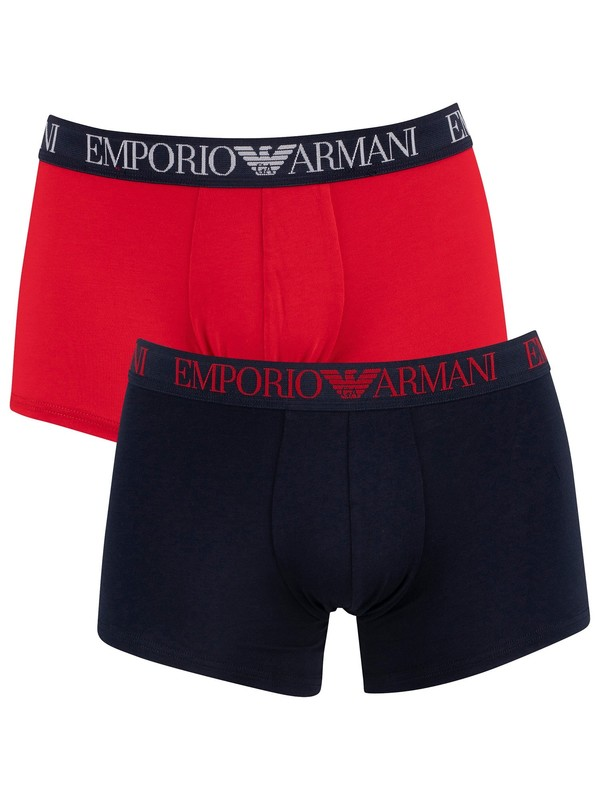 Emporio Armani 2 Pack Endurance Trunks - Navy/Red