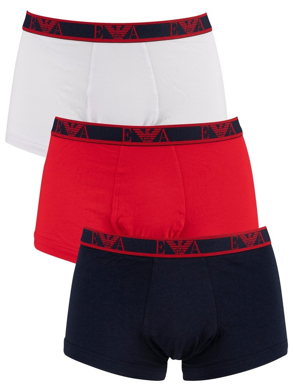 Emporio Armani 3 Pack Trunks - Navy/Red/White