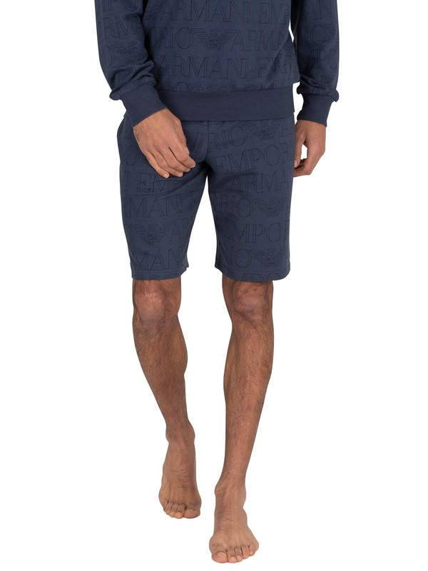 Emporio Armani Lounge Bermuda Sweat Shorts - Printed Blue