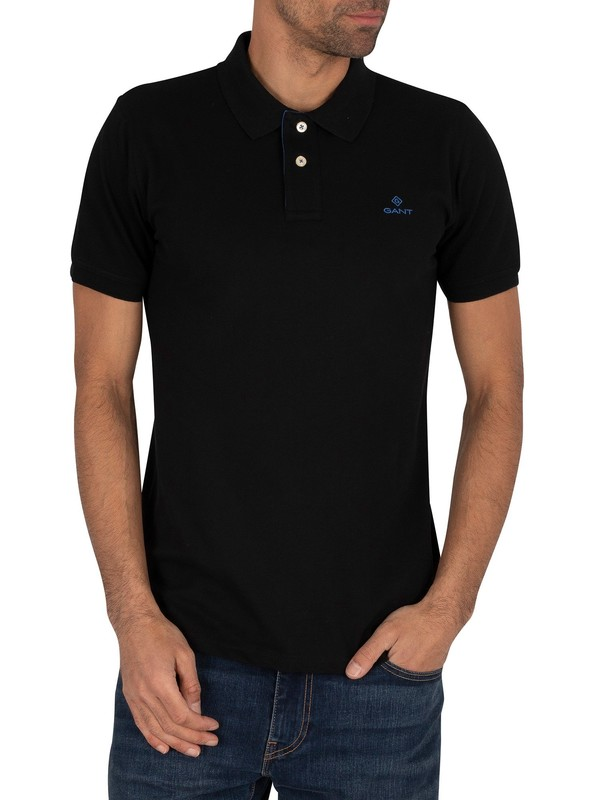 GANT Contrast Collar Pique Rugger Polo Shirt - Black